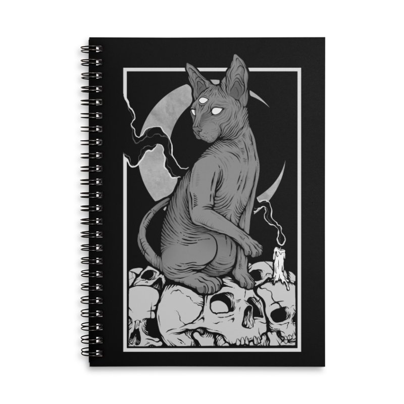 Occult Cat Accessories Lined Spiral Notebook by Deniart's Artist Shop