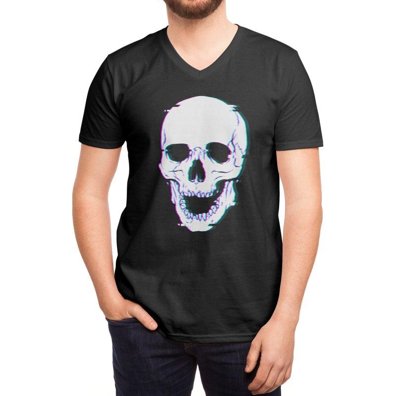 Glitch Skull Men's V-Neck by Deniart's Artist Shop