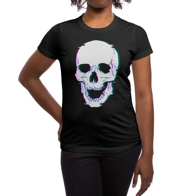 Glitch Skull Women's T-Shirt by Deniart's Artist Shop