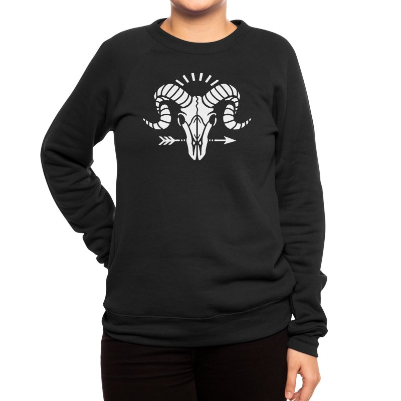Deniart's Goat Skull Women's Sweatshirt by Deniart's Artist Shop