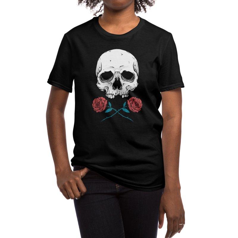 Skull and Roses Women's T-Shirt by Deniart's Artist Shop