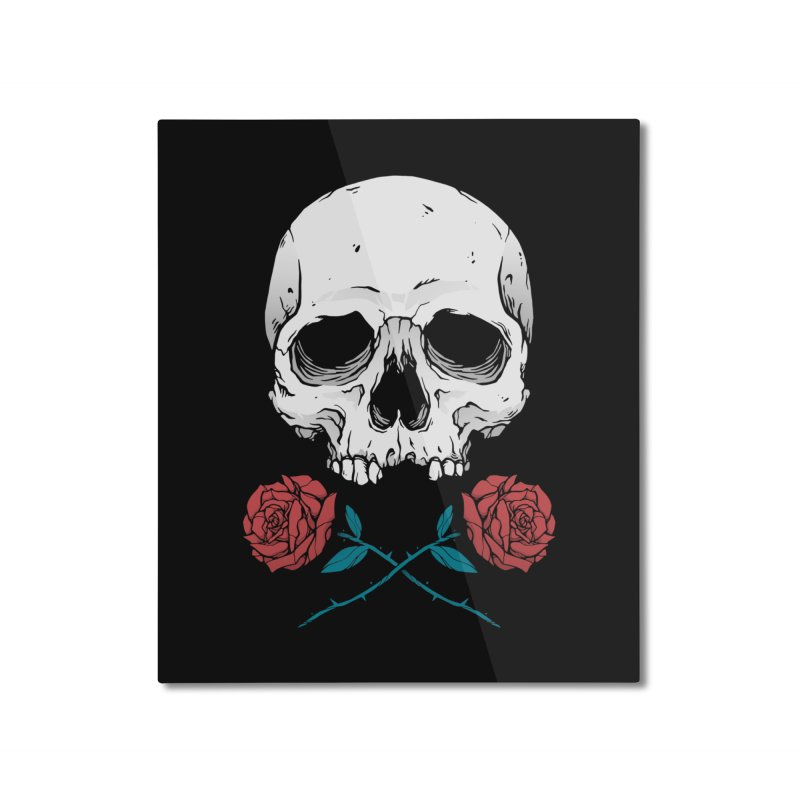 Skull and Roses Home Mounted Aluminum Print by Deniart's Artist Shop