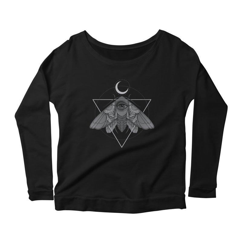 Occult Moth Women's Longsleeve Scoopneck  by Deniart's Artist Shop