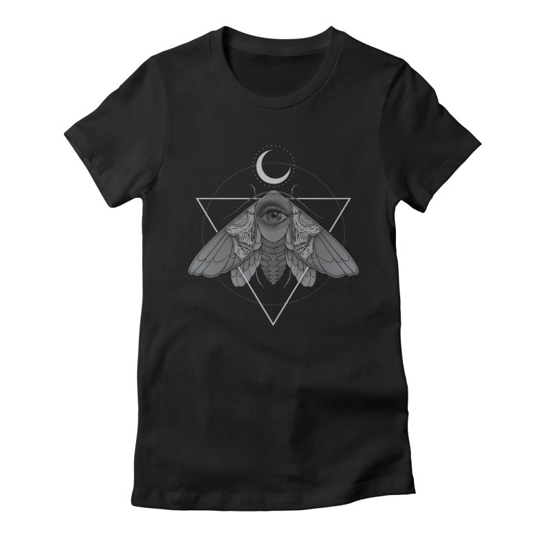 Occult Moth Women's Fitted T-Shirt by Deniart's Artist Shop