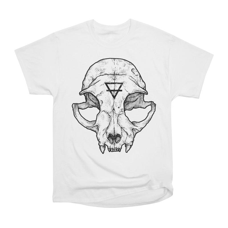 Cat Skull Men's Heavyweight T-Shirt by Deniart's Artist Shop