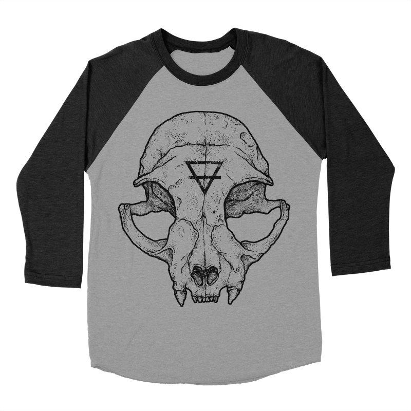 Cat Skull Women's Baseball Triblend T-Shirt by Deniart's Artist Shop