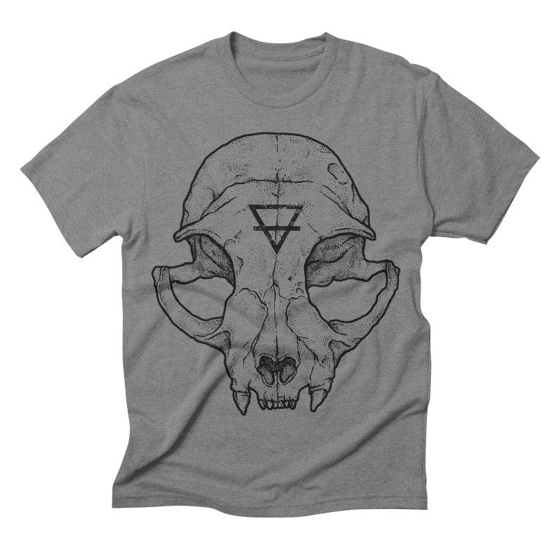 Cat Skull Men's Triblend T-shirt by Deniart's Artist Shop