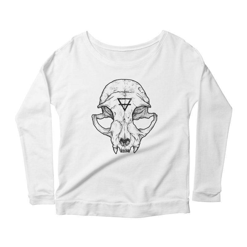 Cat Skull Women's Longsleeve Scoopneck  by Deniart's Artist Shop