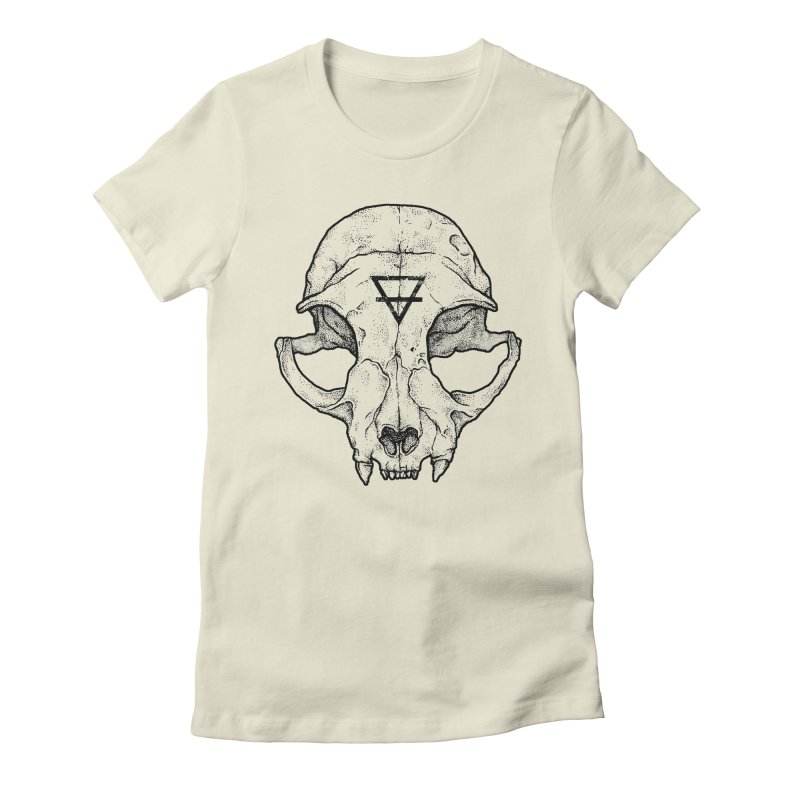 Cat Skull Women's Fitted T-Shirt by Deniart's Artist Shop