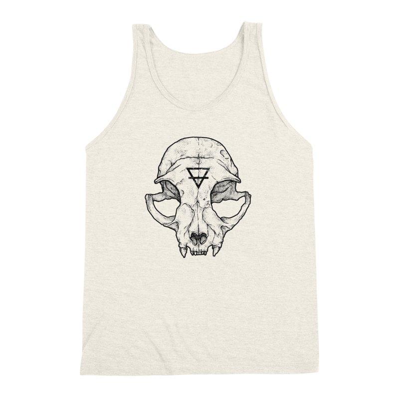Cat Skull Men's Triblend Tank by Deniart's Artist Shop