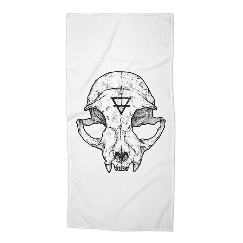 Cat Skull Accessories Beach Towel by Deniart's Artist Shop