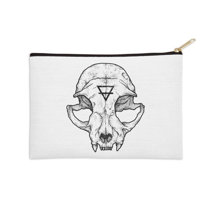 Cat Skull Accessories Zip Pouch by Deniart's Artist Shop