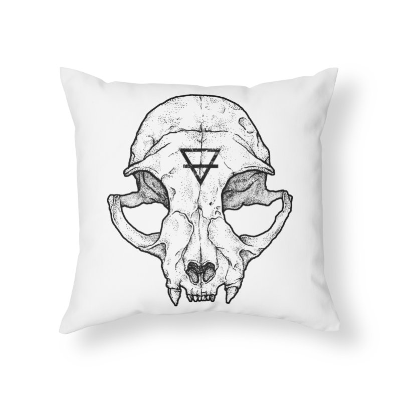 Cat Skull Home Throw Pillow by Deniart's Artist Shop