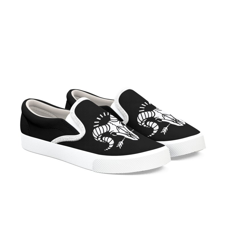 Goat Skull Men's Slip-On Shoes by Deniart's Artist Shop