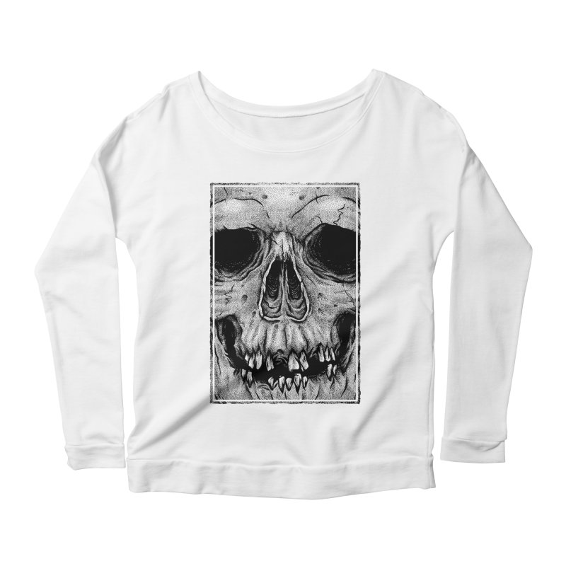 SKULL Women's Scoop Neck Longsleeve T-Shirt by Deniart's Artist Shop
