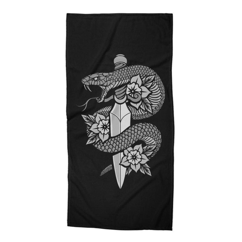 Snake & Dagger Accessories Beach Towel by Deniart's Artist Shop
