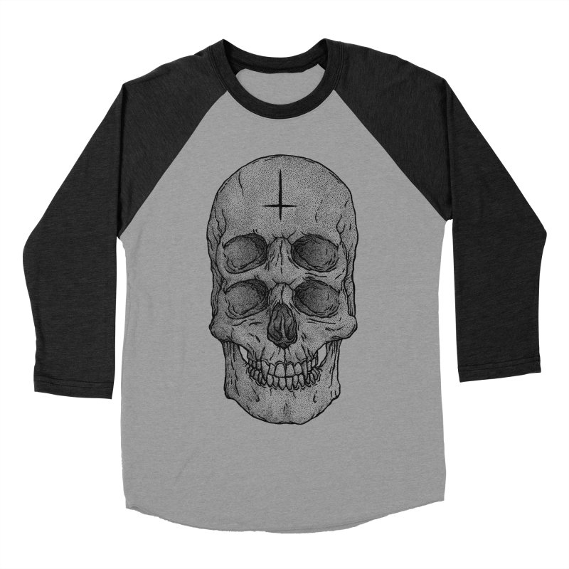 Skull Men's Baseball Triblend T-Shirt by Deniart's Artist Shop