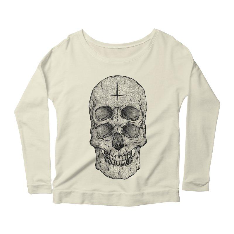 Skull Women's Longsleeve Scoopneck  by Deniart's Artist Shop