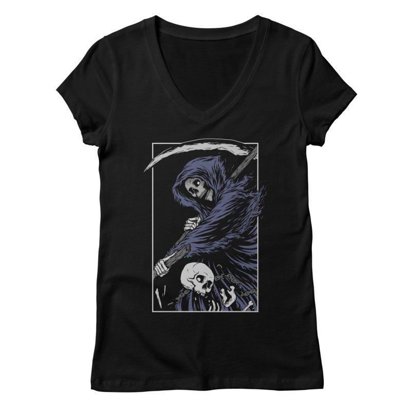 Reaper Women's Regular V-Neck by Deniart's Artist Shop
