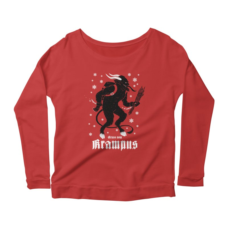 Krampus Women's Scoop Neck Longsleeve T-Shirt by Deniart's Artist Shop