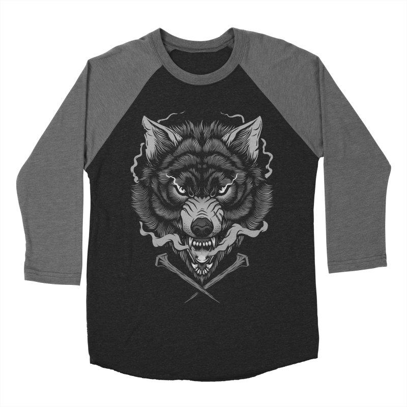 Dark Wolf Women's Baseball Triblend Longsleeve T-Shirt by Deniart's Artist Shop