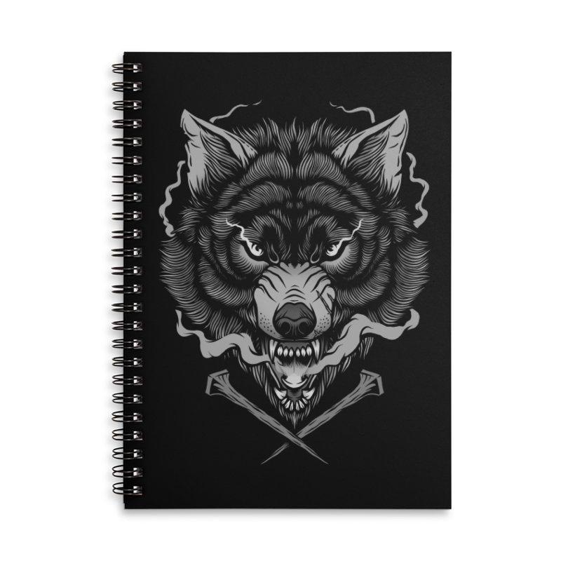 Dark Wolf Accessories Lined Spiral Notebook by Deniart's Artist Shop