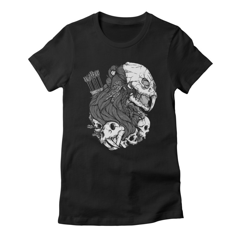 Prehistoric Girl Women's Fitted T-Shirt by Deniart's Artist Shop