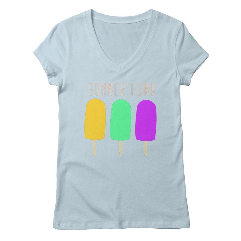 Summer Fun Popsicles Women's Regular V-Neck by denisegraphiste's Artist Shop