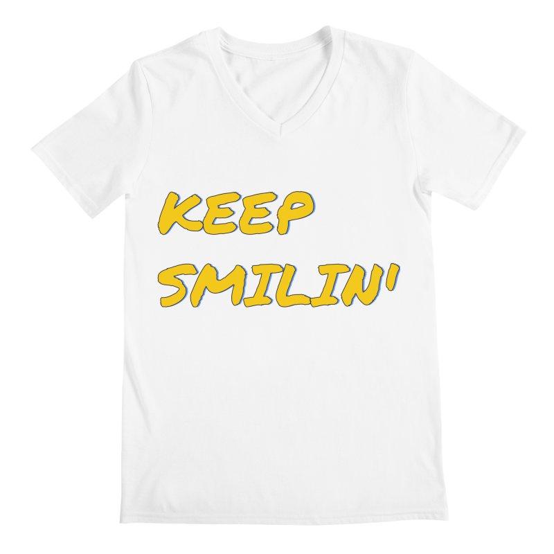 Keep Smilin' Men's Regular V-Neck by denisegraphiste's Artist Shop