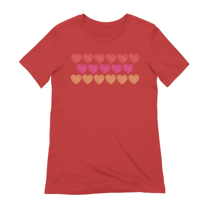 Bunch of Hearts Women's Extra Soft T-Shirt by denisegraphiste's Artist Shop