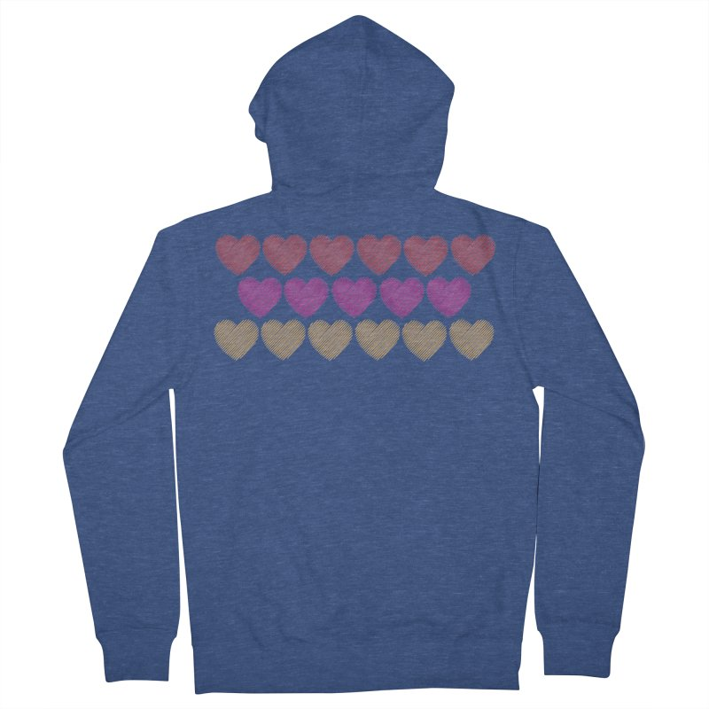 Bunch of Hearts Women's French Terry Zip-Up Hoody by denisegraphiste's Artist Shop