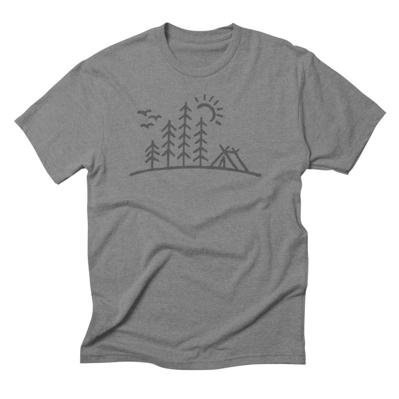 Camp Site in Men's Triblend T-Shirt Grey Triblend by Dennis Good