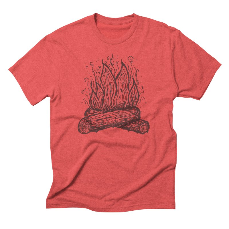 Camp Fire in Men's Triblend T-Shirt Chili Red by Dennis Good