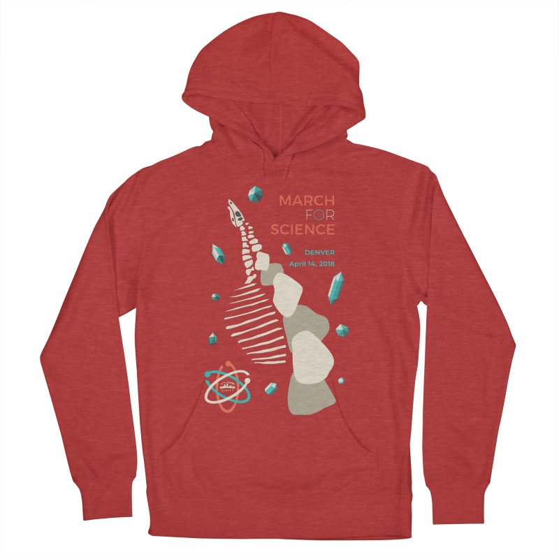 Denver March For Science Dinosaur Men's French Terry Pullover Hoody by Denver March For Science's Artist Shop