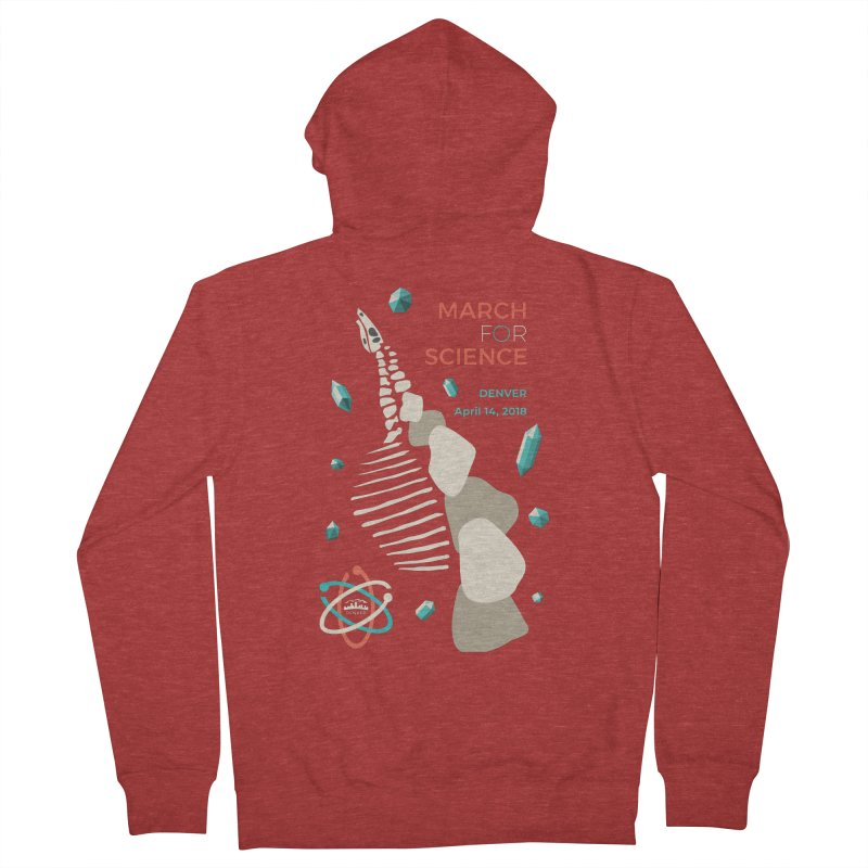 Denver March For Science Dinosaur Men's French Terry Zip-Up Hoody by Denver March For Science's Artist Shop