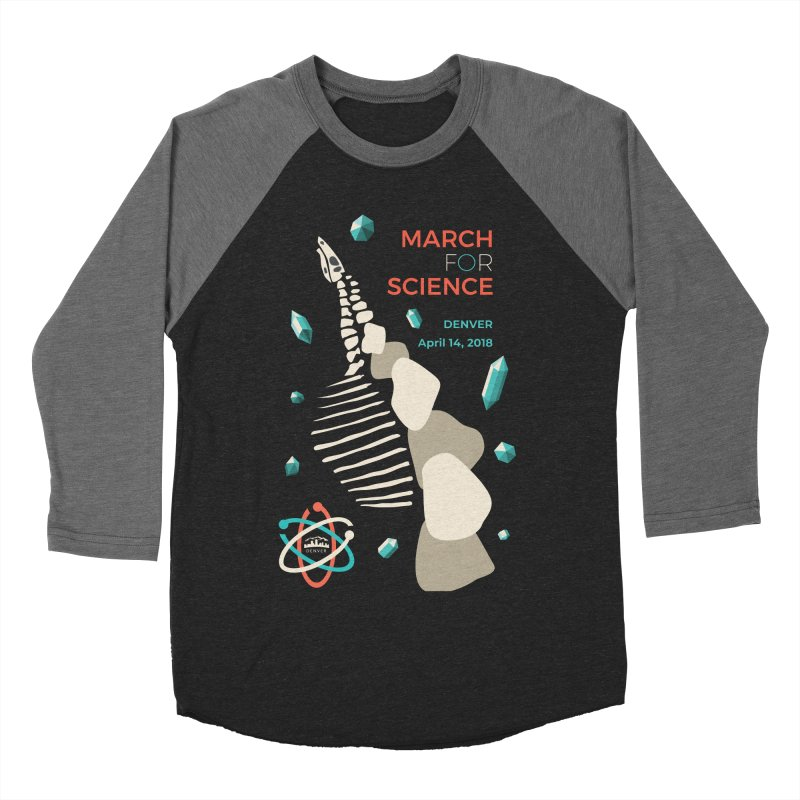 Denver March For Science Dinosaur Men's Baseball Triblend T-Shirt by Denver March For Science's Artist Shop