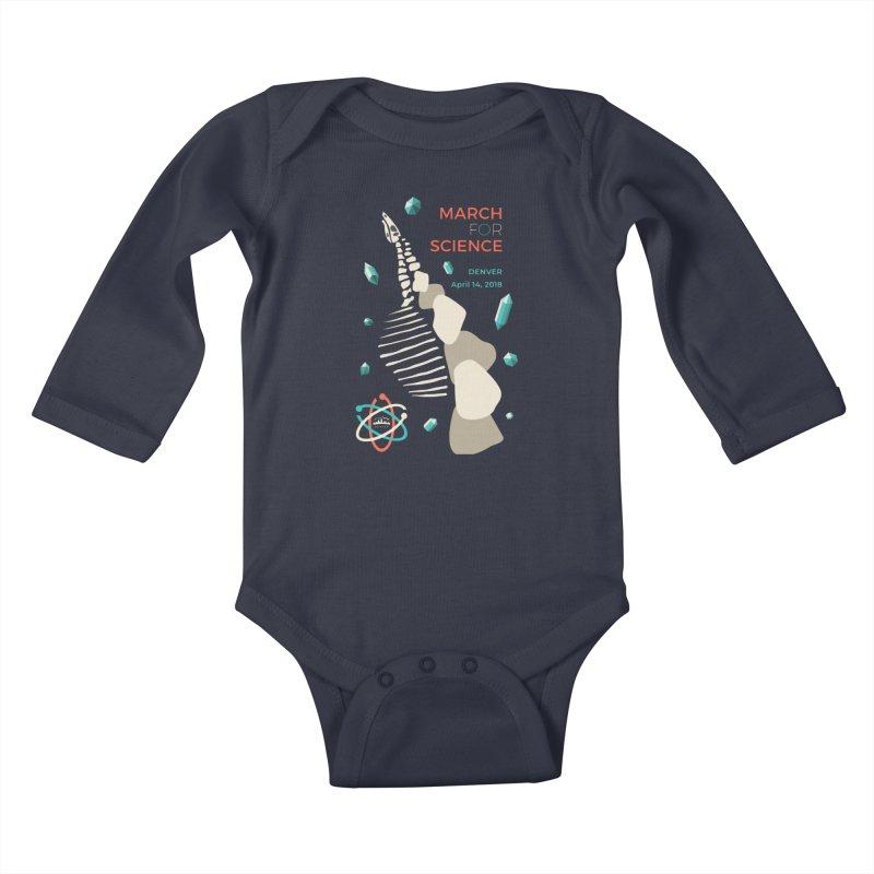 Denver March For Science Dinosaur Kids Baby Longsleeve Bodysuit by Denver March For Science's Artist Shop