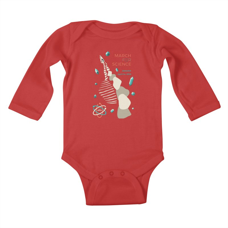Denver March For Science Dinosaur Kids Baby Longsleeve Bodysuit by Denver March For Science's Artist Shop