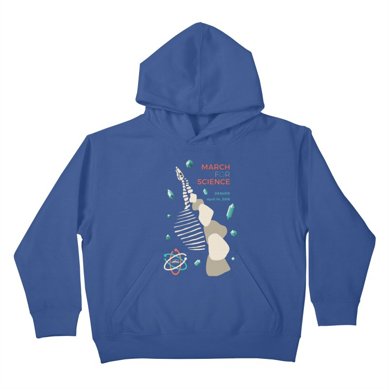 Denver March For Science Dinosaur Kids Pullover Hoody by Denver March For Science's Artist Shop
