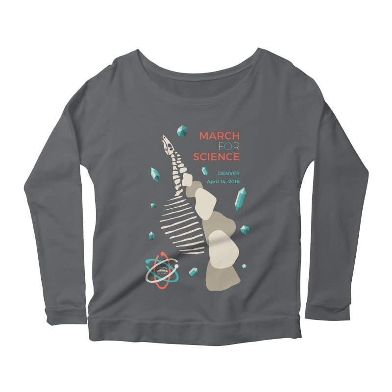 Denver March For Science Dinosaur Women's Scoop Neck Longsleeve T-Shirt by Denver March For Science's Artist Shop