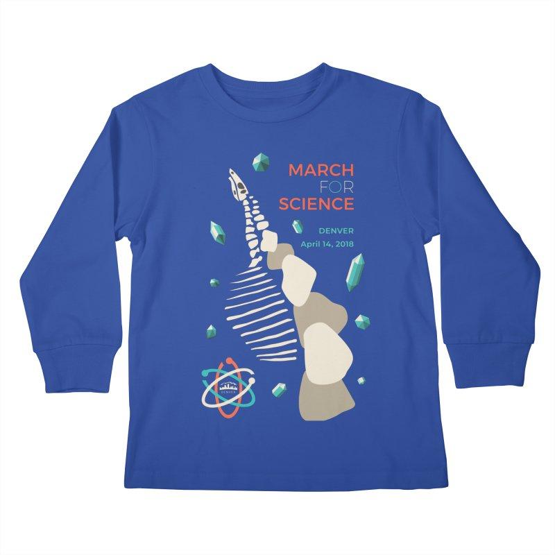Denver March For Science Dinosaur Kids Longsleeve T-Shirt by Denver March For Science's Artist Shop