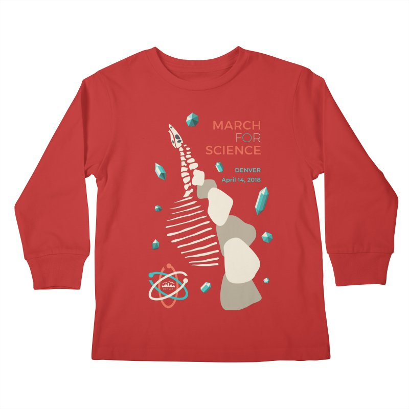 Denver March For Science Dinosaur Kids Longsleeve T-Shirt by Denver March For Science's Artist Shop