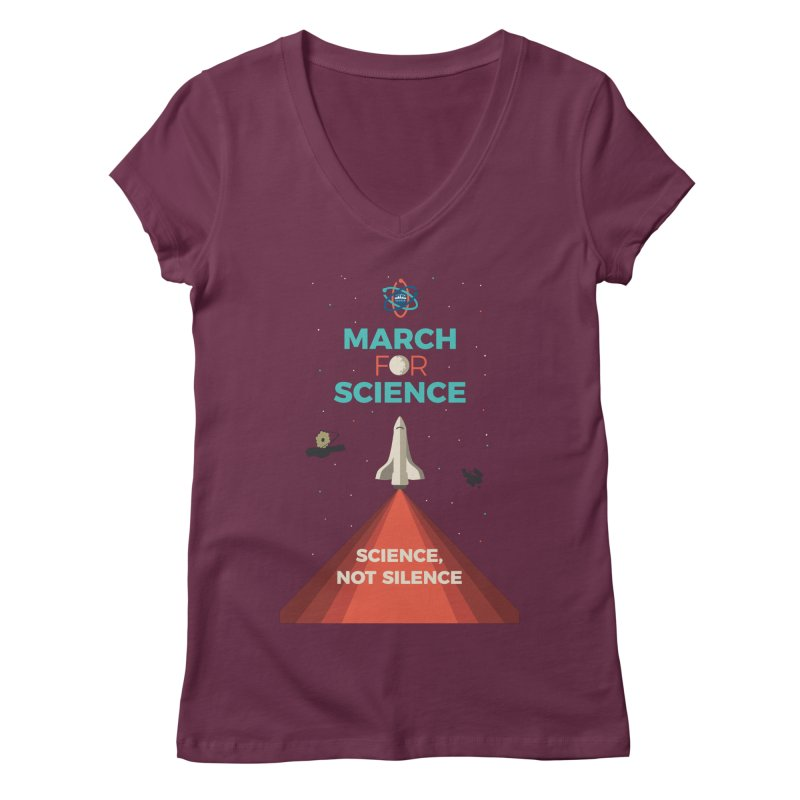 Denver March For Science Shuttle Women's Regular V-Neck by Denver March For Science's Artist Shop