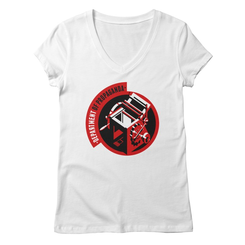 Department of Propaganda Printing Press Women's V-Neck by Propaganda Department
