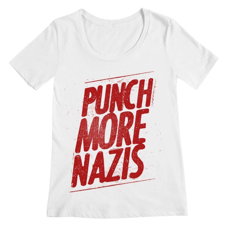 Punch more nazis Women's Regular Scoop Neck by Propaganda Department