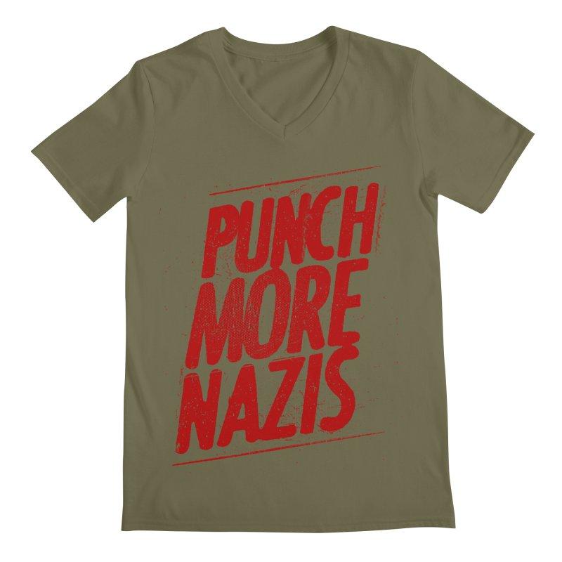 Punch more nazis Men's Regular V-Neck by Propaganda Department