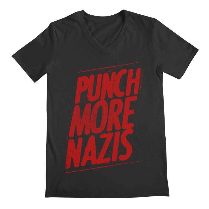 Punch more nazis Men's Regular V-Neck by Propaganda Department
