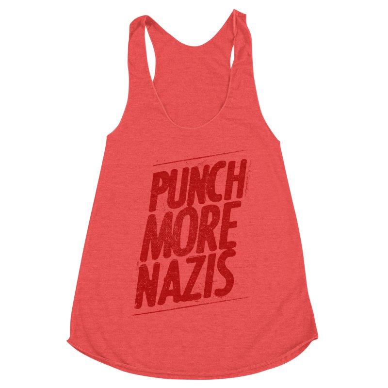 Punch more nazis Women's Racerback Triblend Tank by Propaganda Department