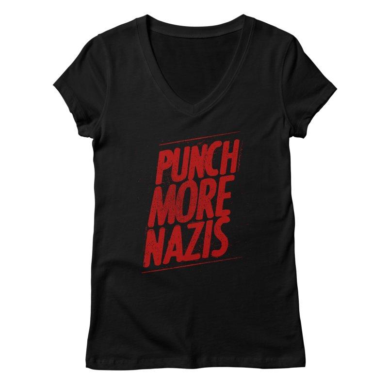 Punch more nazis Women's V-Neck by Propaganda Department