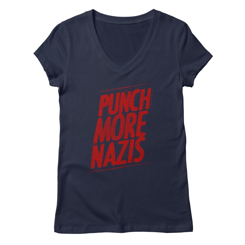 Punch more nazis Women's Regular V-Neck by Propaganda Department